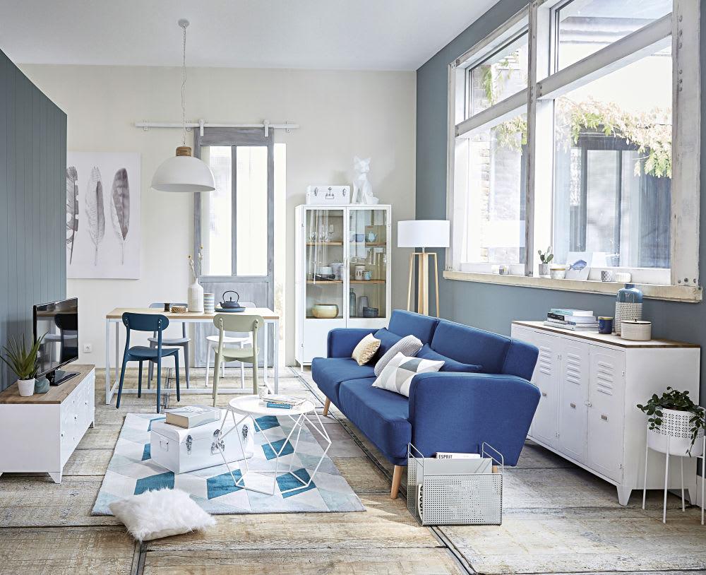 canap lit 3 places bleu roi elvis maisons du monde. Black Bedroom Furniture Sets. Home Design Ideas