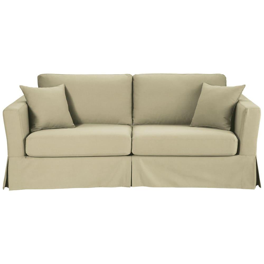 canap lit 3 places en coton beige royan maisons du monde. Black Bedroom Furniture Sets. Home Design Ideas