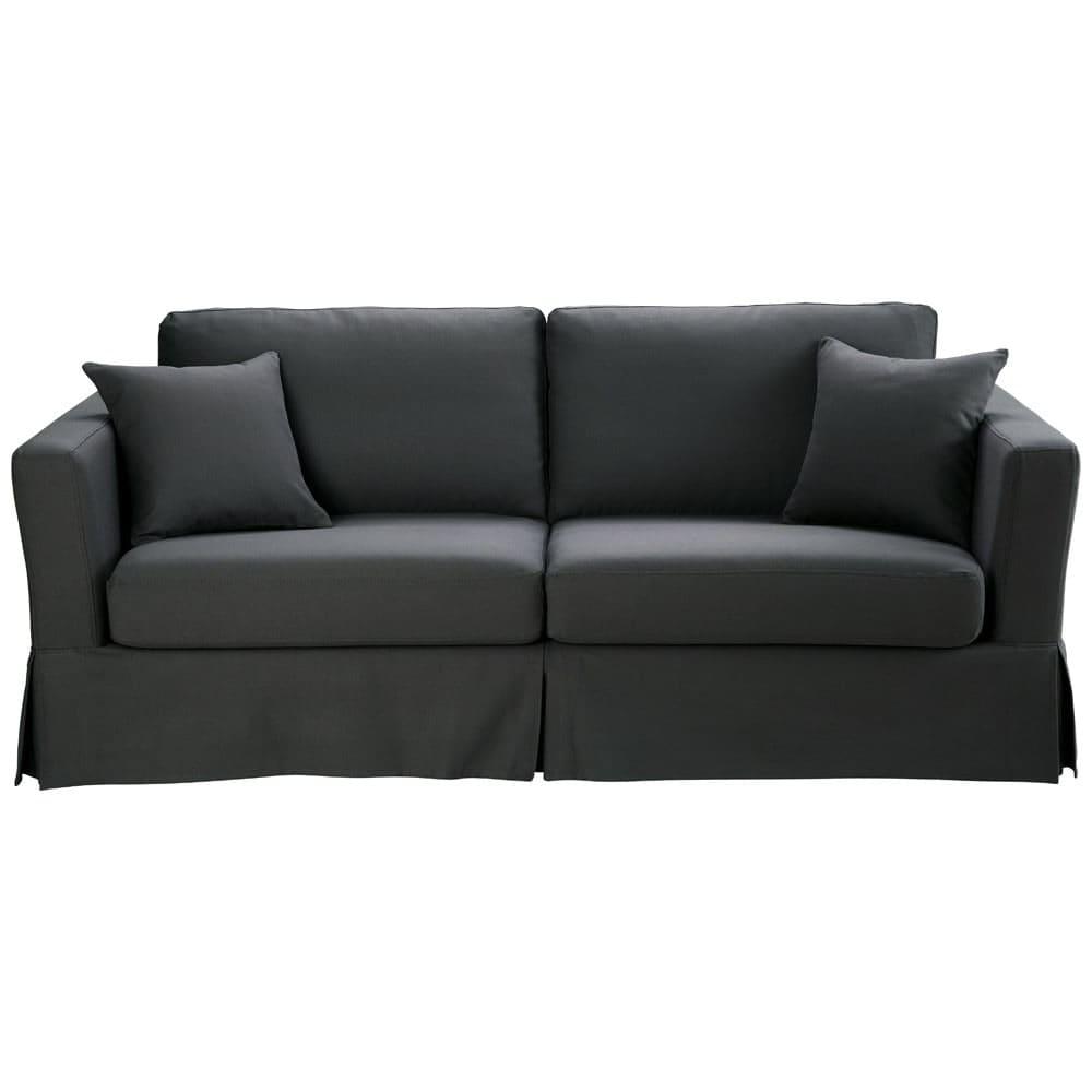 canap lit 3 places en coton gris ardoise royan maisons du monde. Black Bedroom Furniture Sets. Home Design Ideas