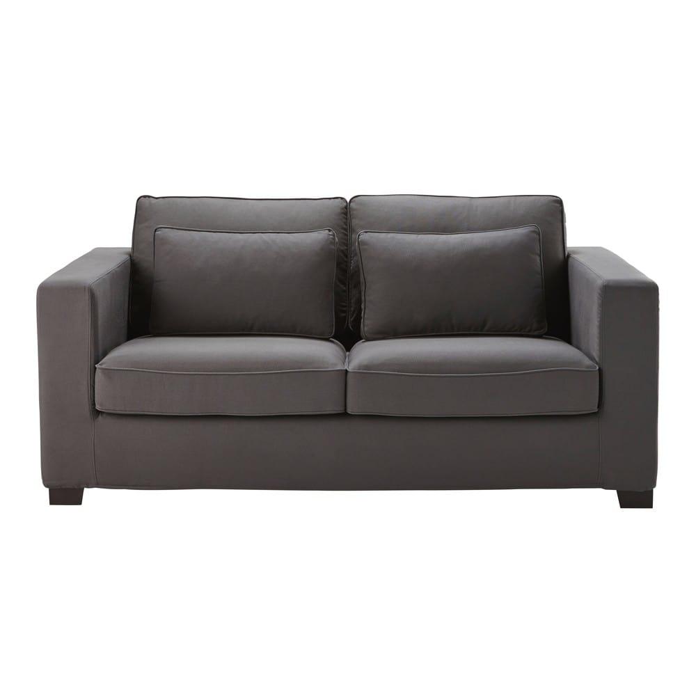 canap lit 3 places en coton gris ardoise milano maisons du monde. Black Bedroom Furniture Sets. Home Design Ideas