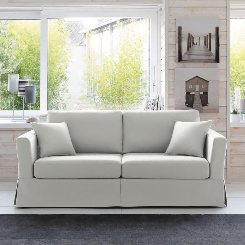 canap lit 3 places en coton gris clair royan maisons du monde. Black Bedroom Furniture Sets. Home Design Ideas