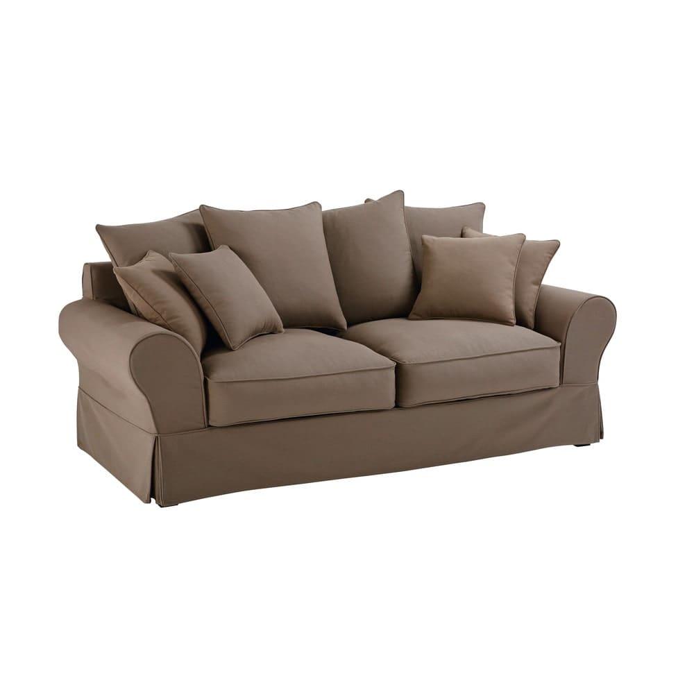 canap lit 3 places en coton taupe bastide maisons du monde. Black Bedroom Furniture Sets. Home Design Ideas
