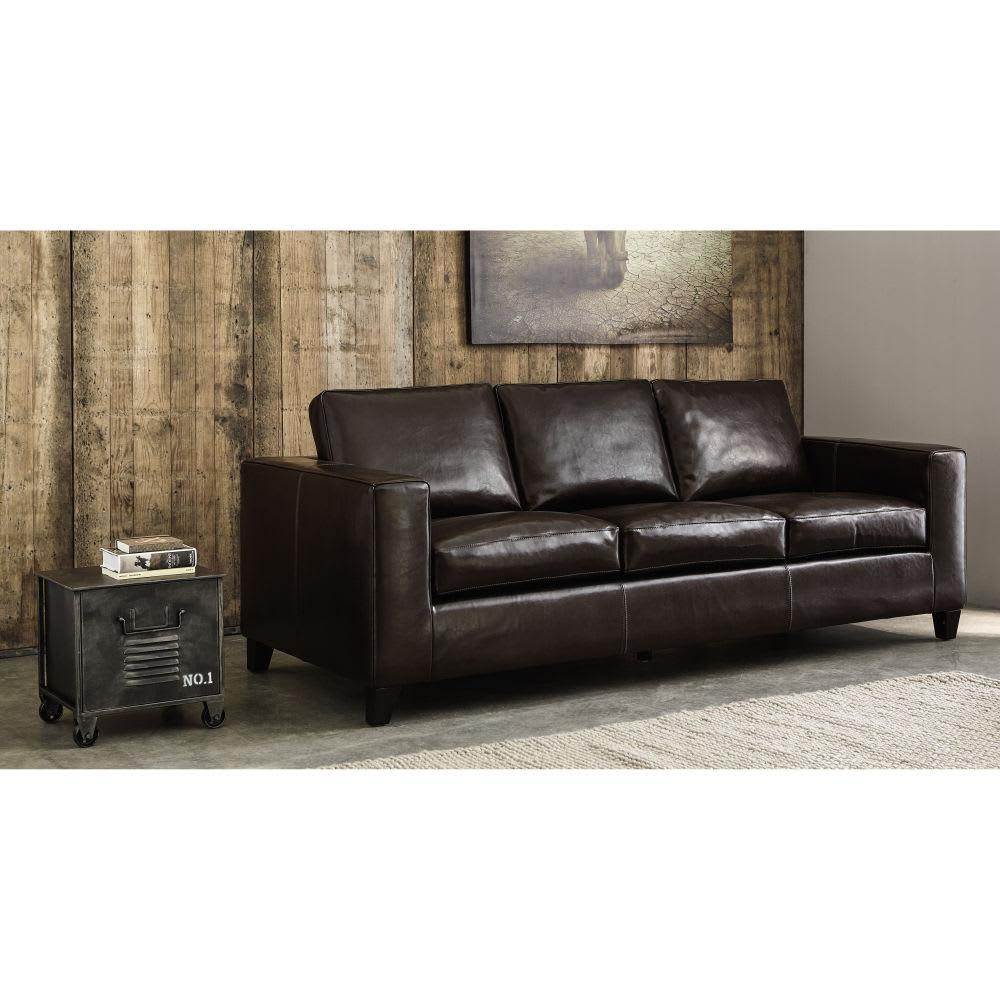 canap lit 3 places en cro te de cuir chocolat kennedy maisons du monde. Black Bedroom Furniture Sets. Home Design Ideas