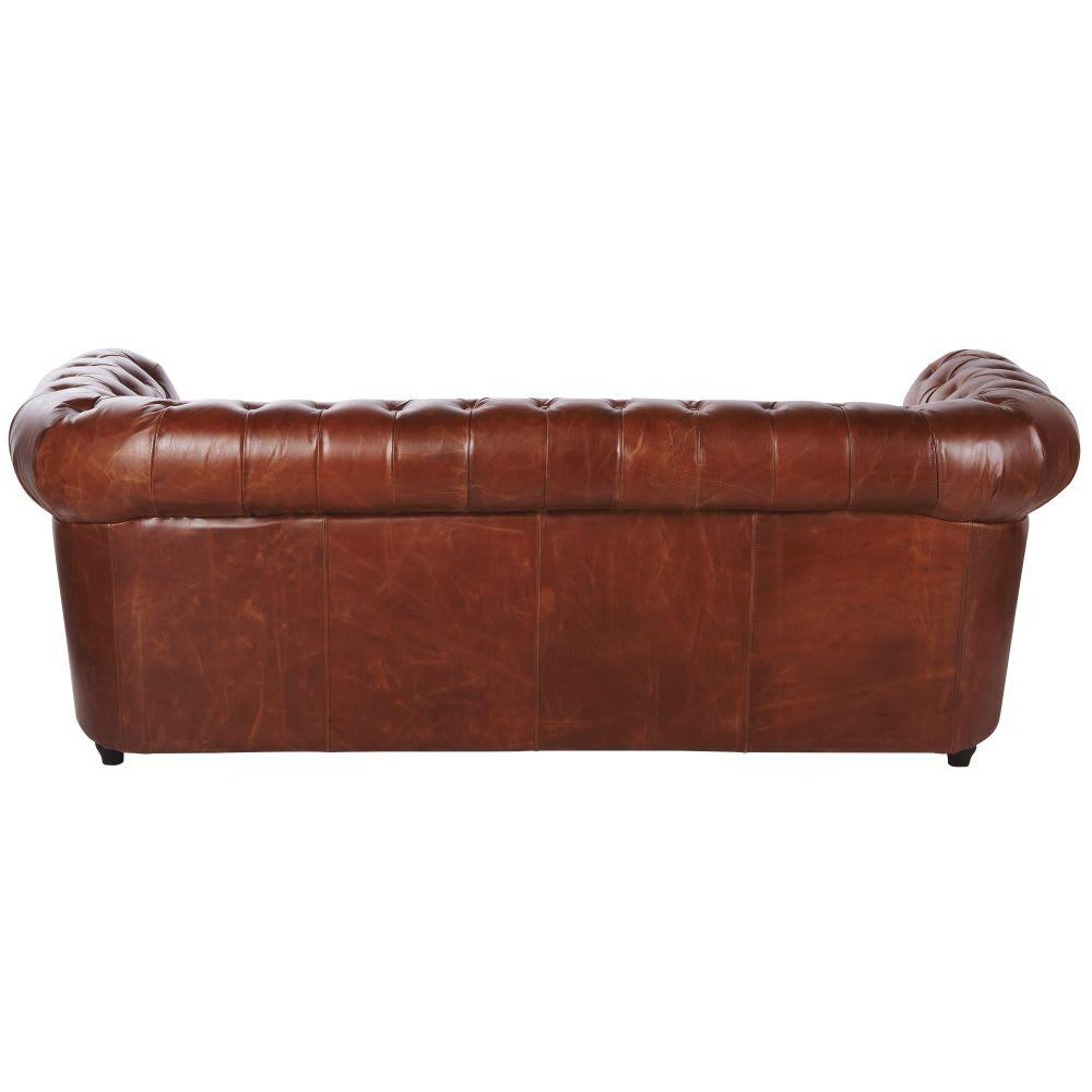 canap lit 3 places en cuir marron chesterfield maisons du monde. Black Bedroom Furniture Sets. Home Design Ideas