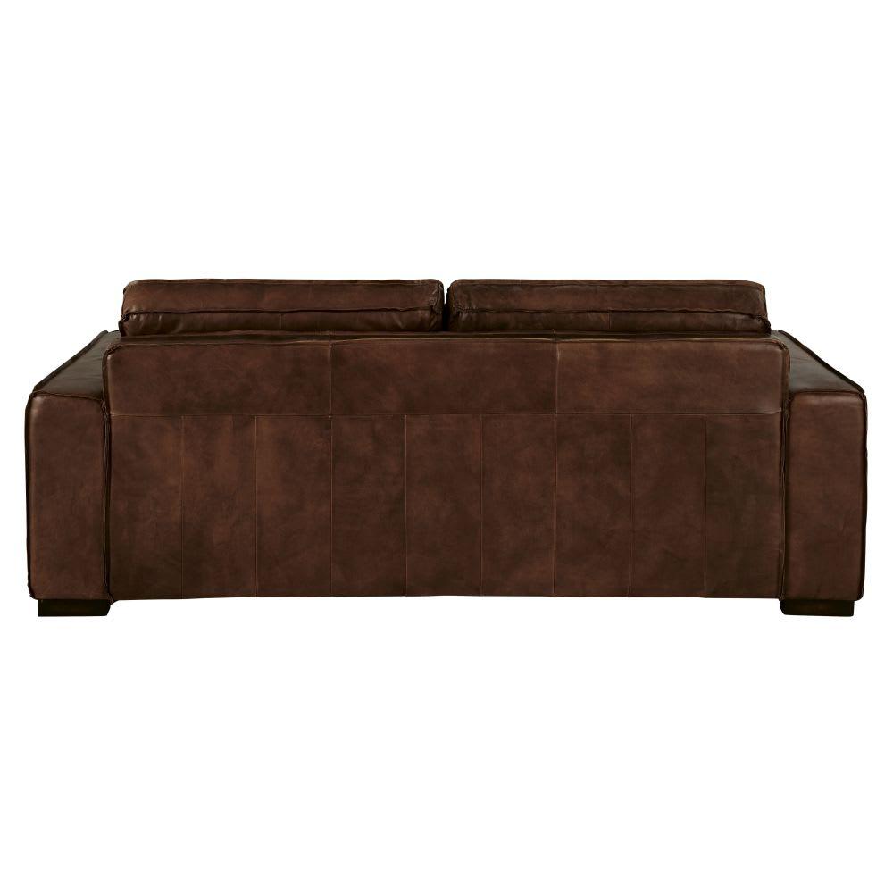 canap lit 3 places en cuir marron colonel maisons du monde. Black Bedroom Furniture Sets. Home Design Ideas