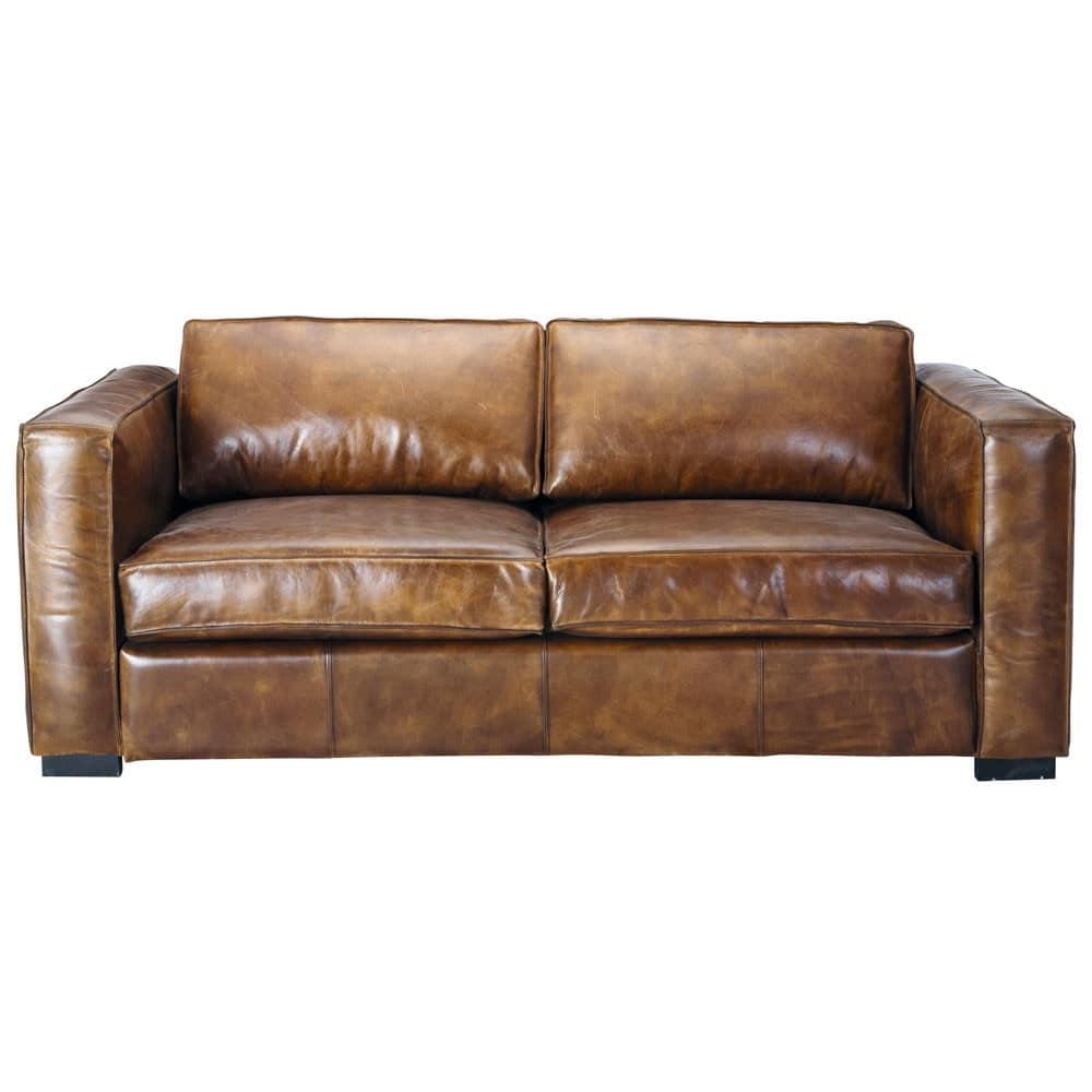 berlin - canapé-lit 3 places en cuir marron