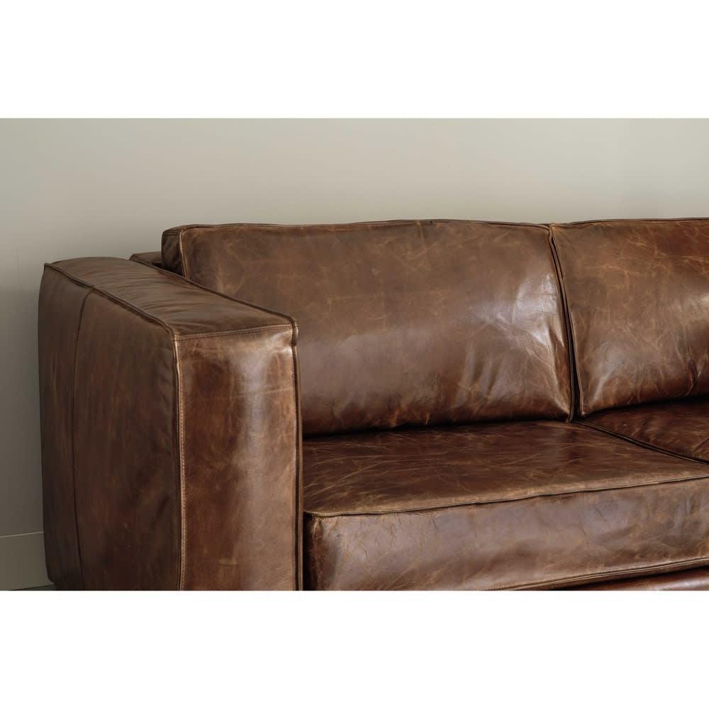 canap lit 3 places en cuir marron berlin maisons du monde. Black Bedroom Furniture Sets. Home Design Ideas