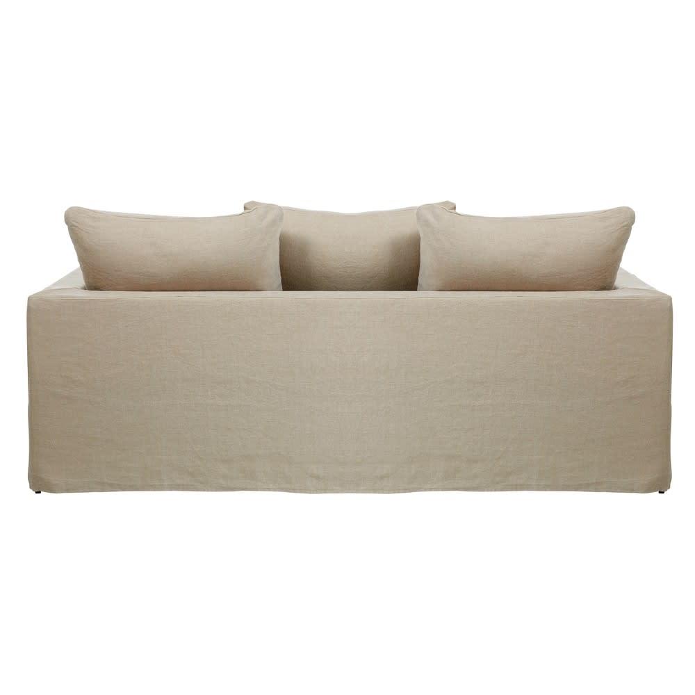canap lit 3 places en lin lav beige c lestin maisons du monde. Black Bedroom Furniture Sets. Home Design Ideas