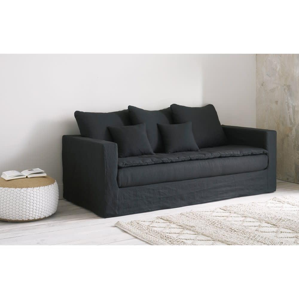 canap lit 3 places en lin lav gris charbon c lestin maisons du monde. Black Bedroom Furniture Sets. Home Design Ideas