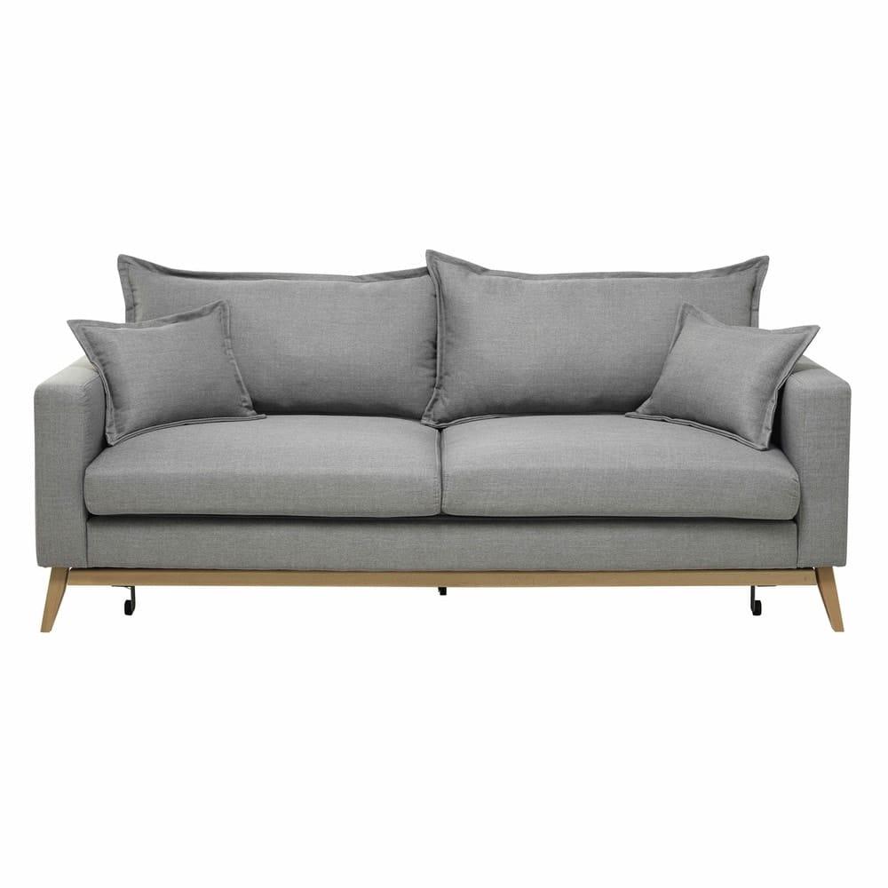 duke - canapé-lit 3 places gris clair