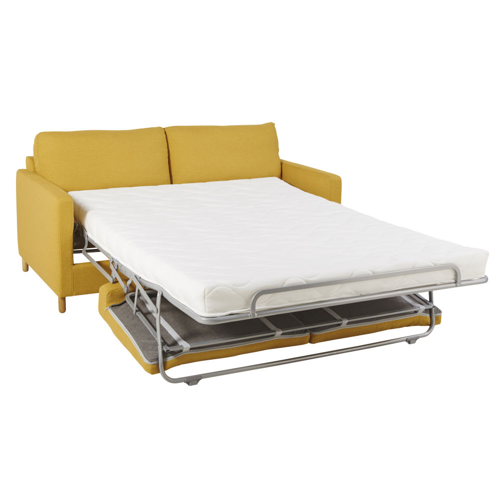 canap lit 3 places jaune moutarde matelas 10 cm julian maisons du monde. Black Bedroom Furniture Sets. Home Design Ideas