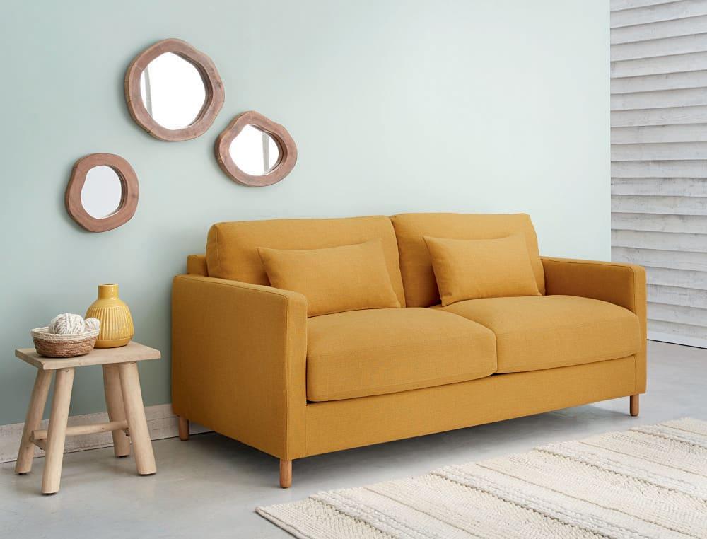 canap lit 3 places jaune moutarde matelas 10 cm julian maisons du monde. Black Bedroom Furniture Sets. Home Design Ideas