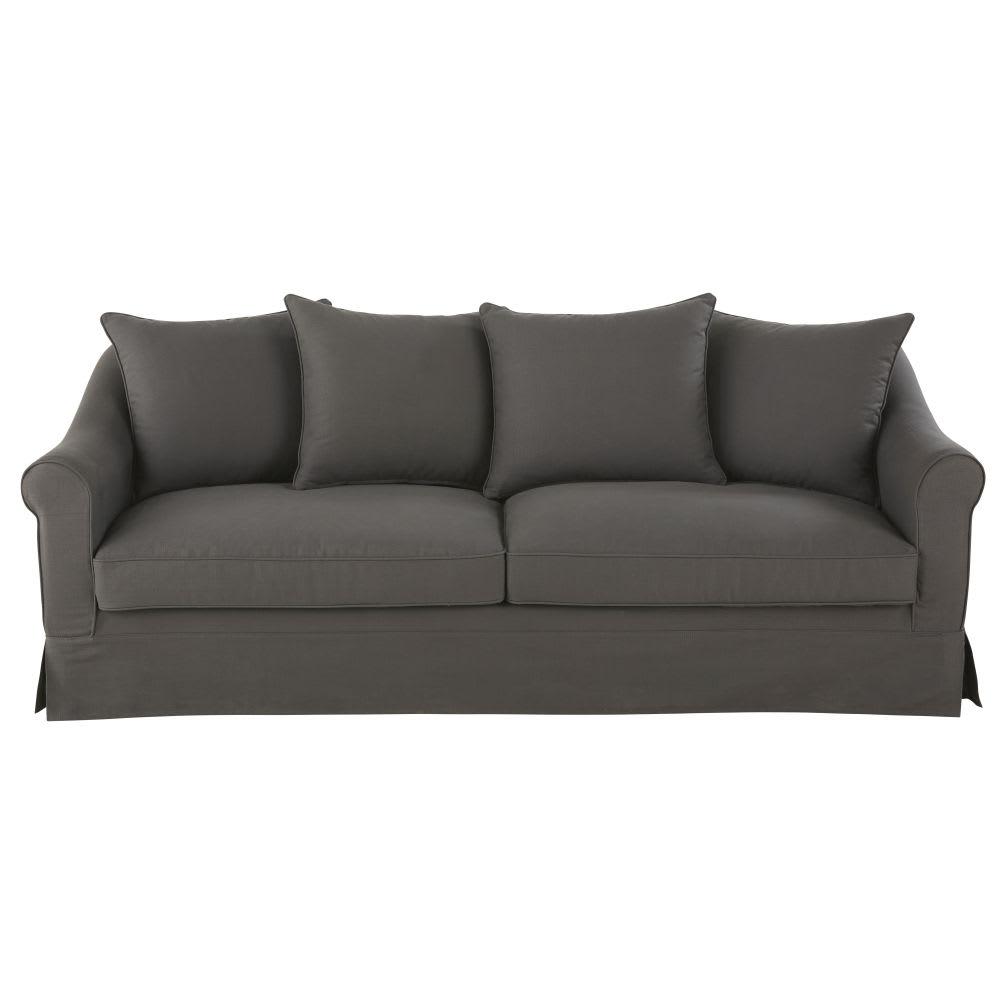canap lit 4 places en coton gris anthracite joanne. Black Bedroom Furniture Sets. Home Design Ideas