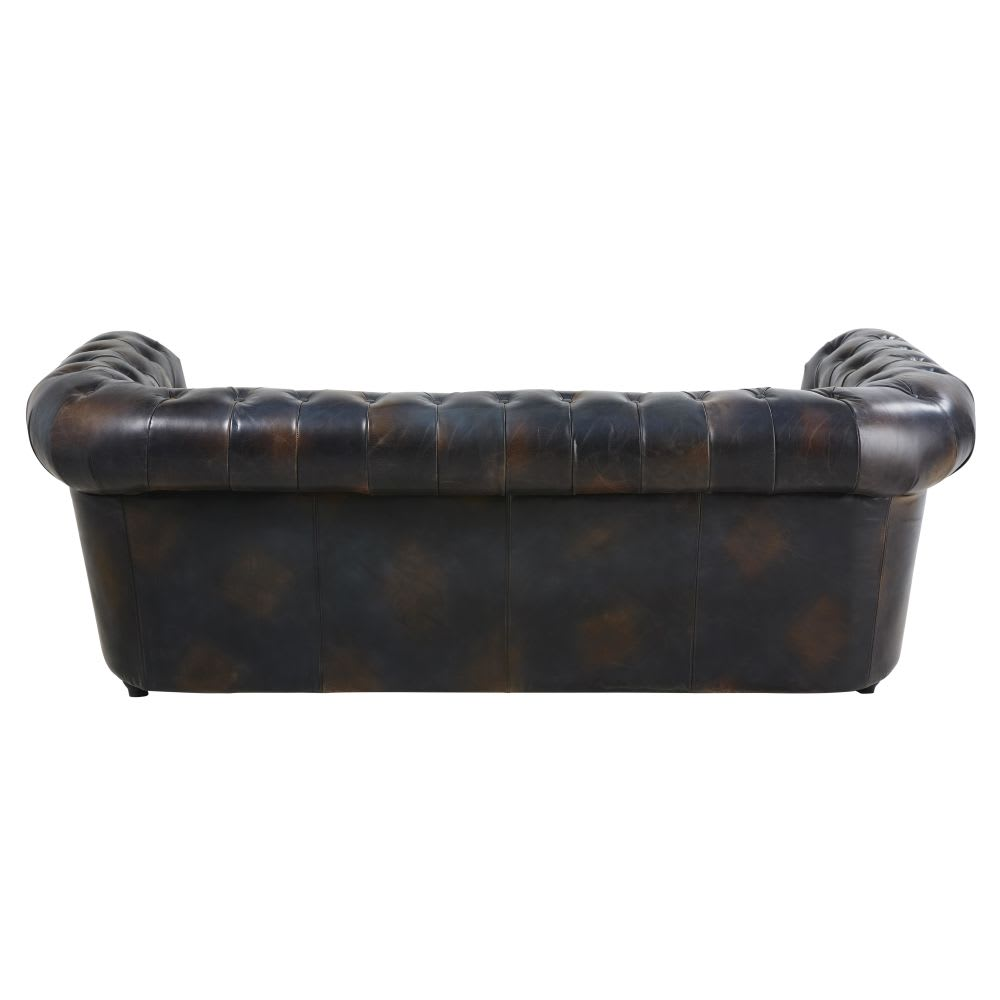 Canape lit capitonne 3 places en cuir moka chesterfield for Canapé lit cuir