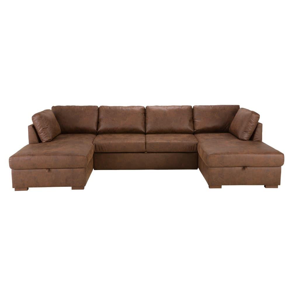 canap lit panoramique 7 places en microsu de marron. Black Bedroom Furniture Sets. Home Design Ideas