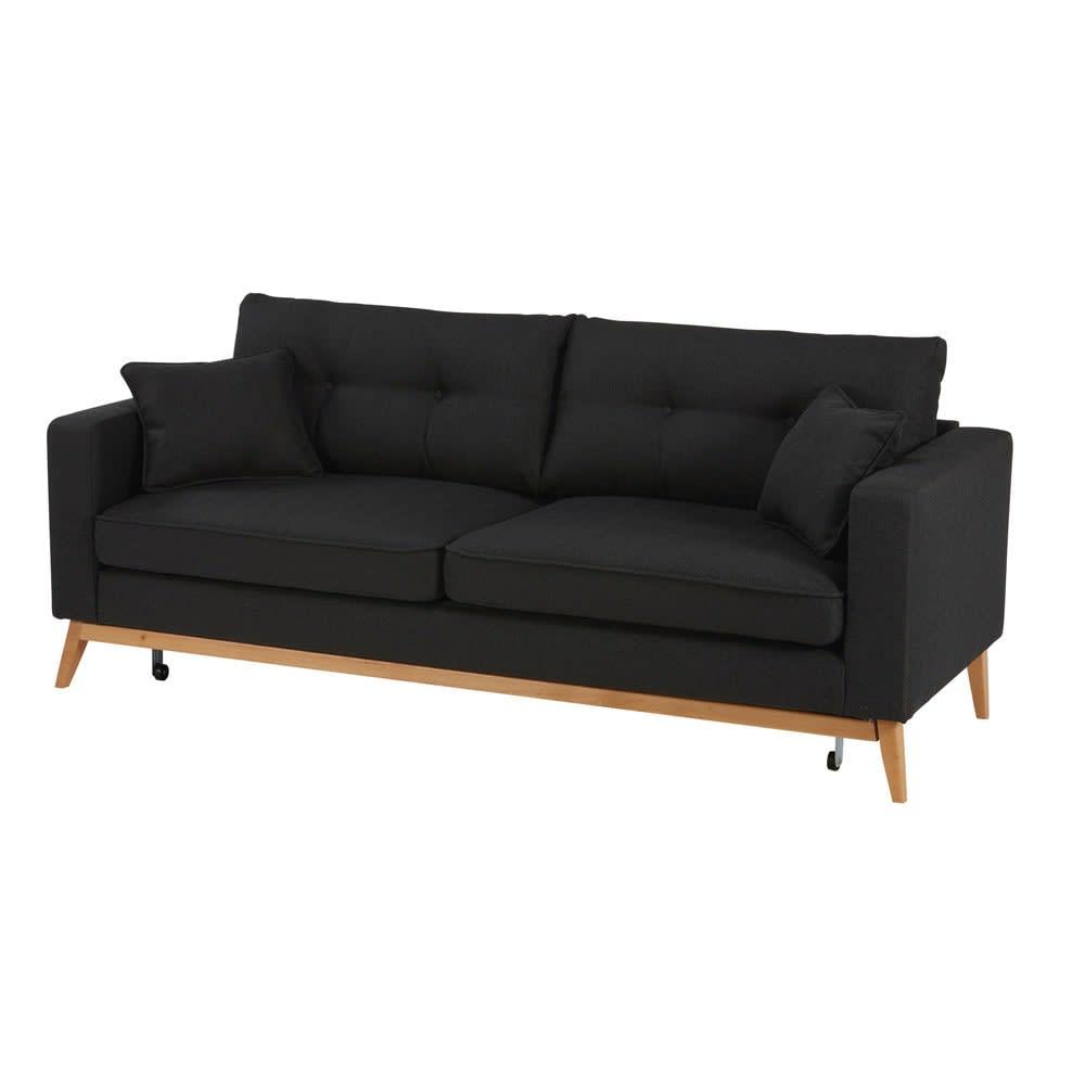canap lit style scandinave 3 places gris anthracite brooke maisons du monde. Black Bedroom Furniture Sets. Home Design Ideas