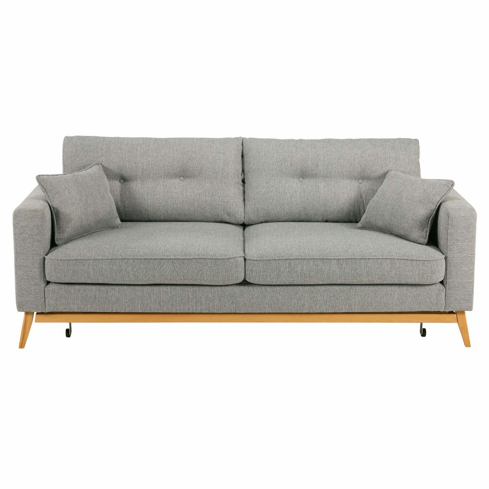 Canape lit style scandinave 3 places gris clair brooke for Lit canapé convertible