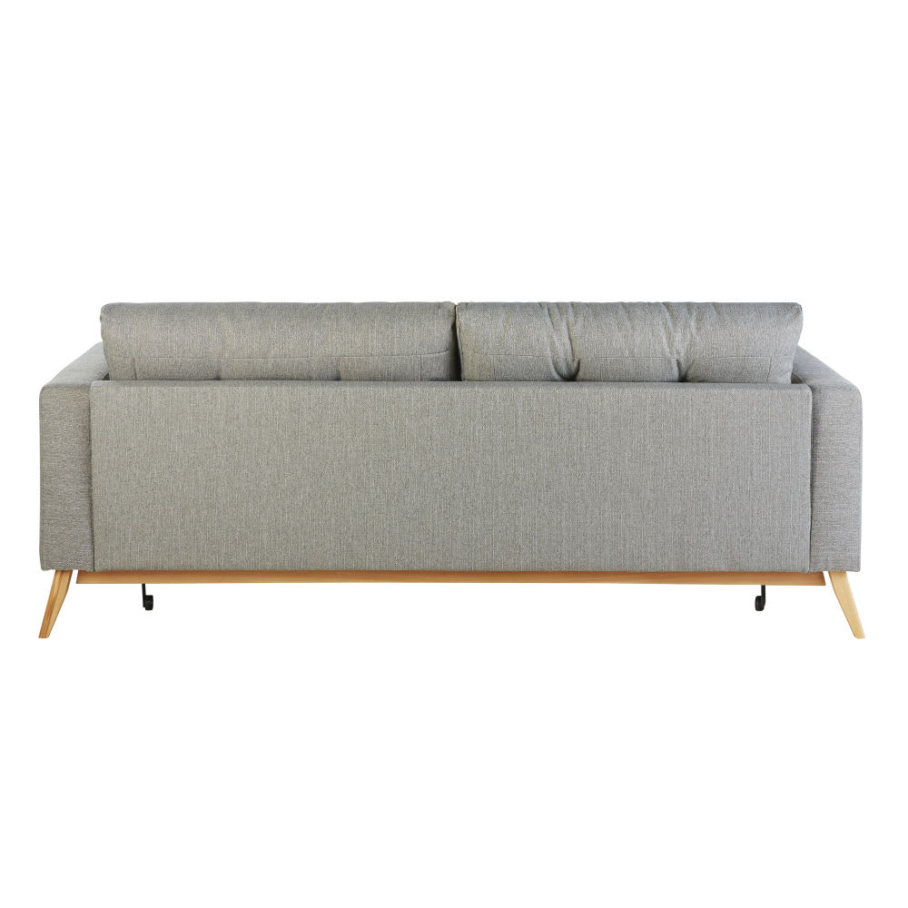 canap lit style scandinave 3 places gris clair brooke. Black Bedroom Furniture Sets. Home Design Ideas