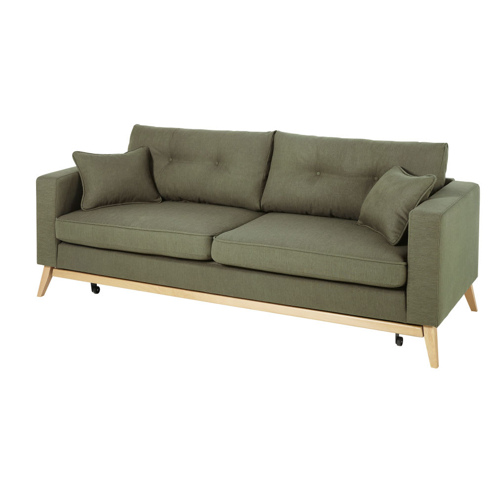 canap lit style scandinave 3 places vert kaki brooke. Black Bedroom Furniture Sets. Home Design Ideas