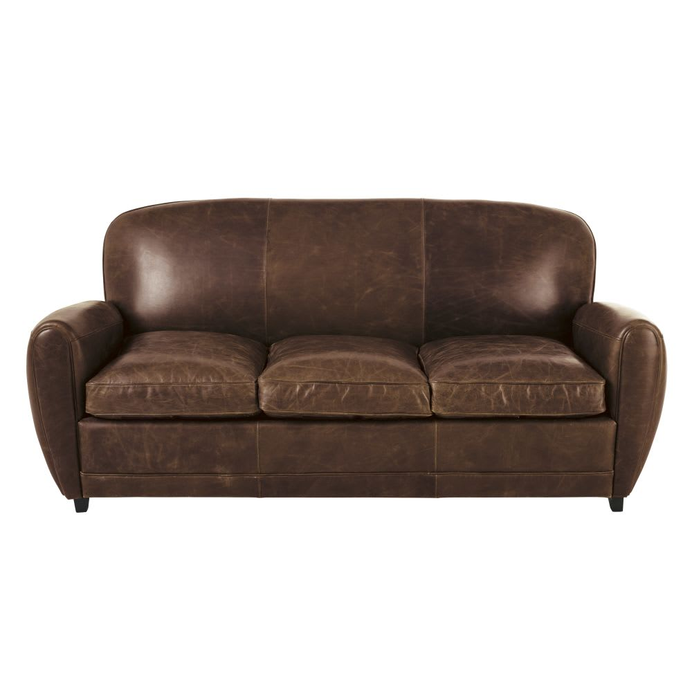 Canape lit vintage 3 places en cuir marron oxford for Canapé lit cuir