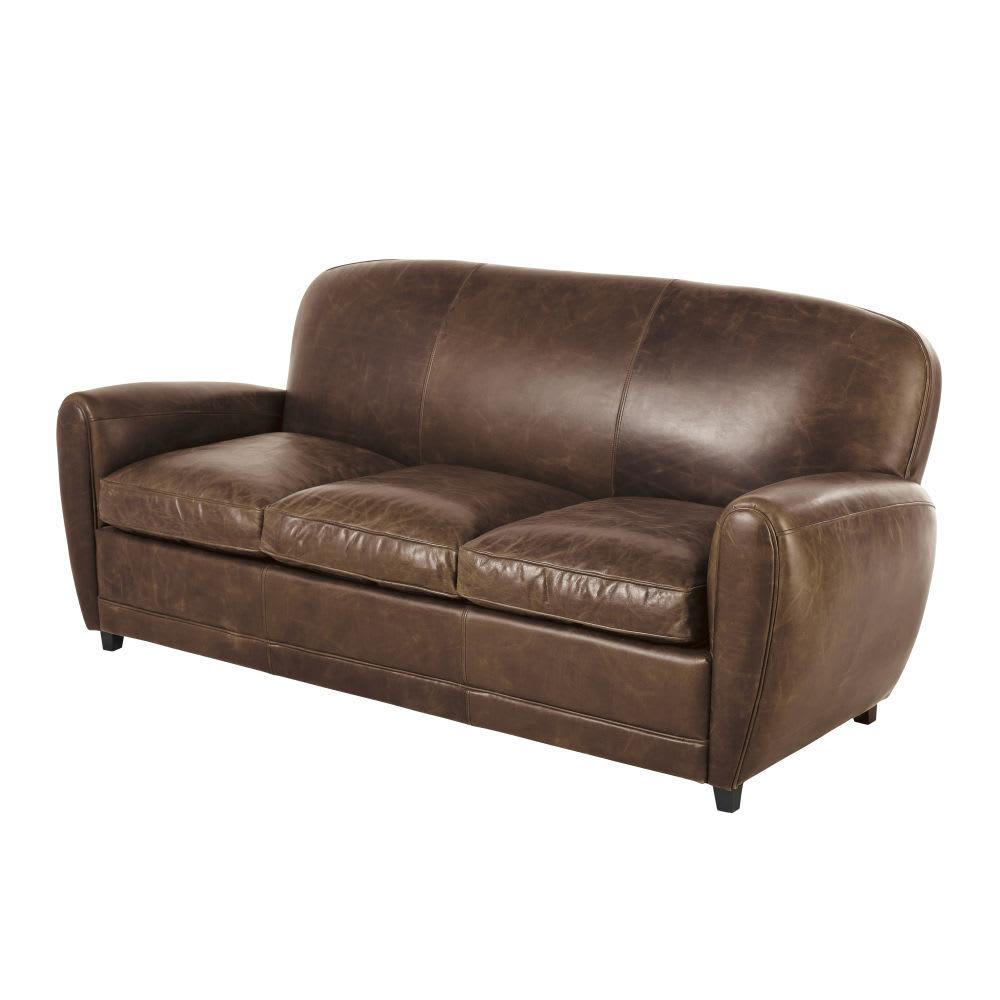 canap lit vintage 3 places en cuir marron oxford maisons du monde. Black Bedroom Furniture Sets. Home Design Ideas