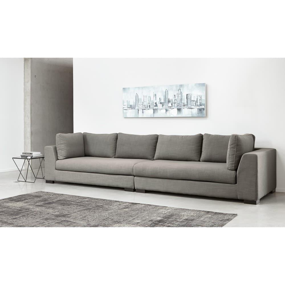 Canapé modulable accoudoir gauche gris clair Terence   Maisons du Monde