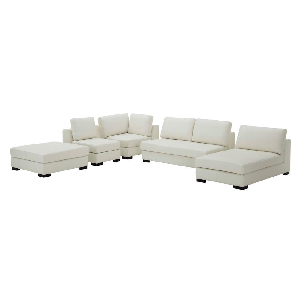 canap modulable gauche en cuir blanc terence maisons du. Black Bedroom Furniture Sets. Home Design Ideas