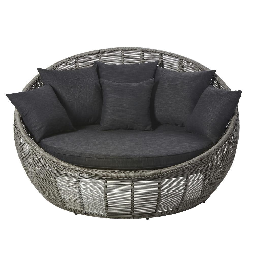 canap rond de jardin 3 places en r sine tress e grise. Black Bedroom Furniture Sets. Home Design Ideas