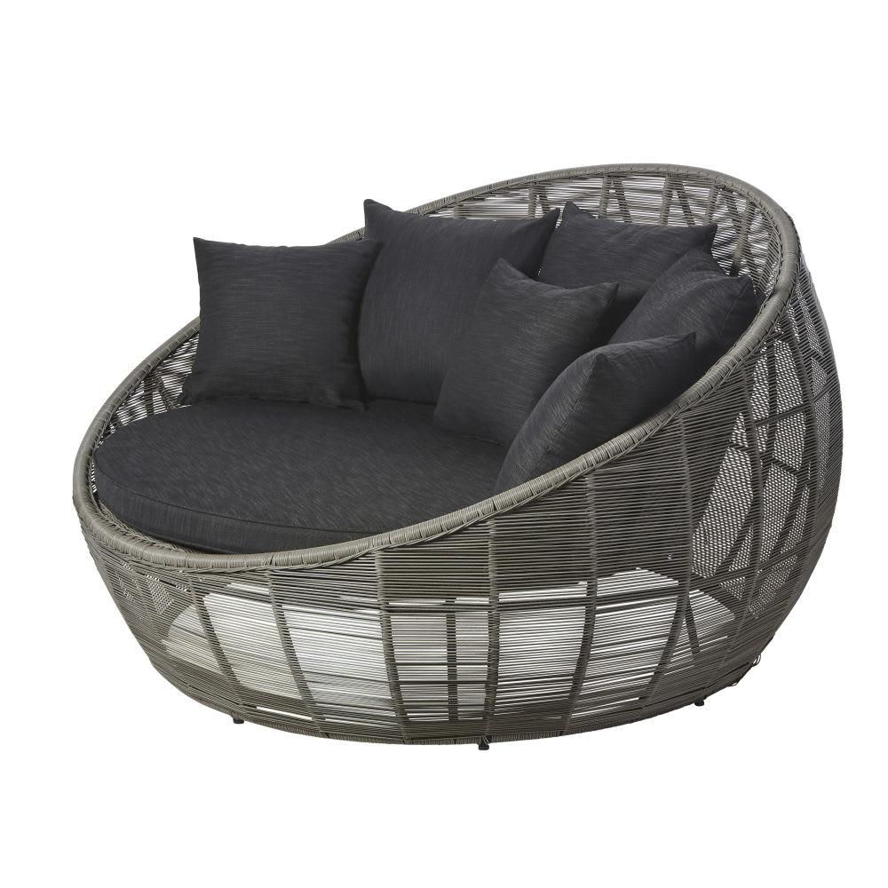 Canapé rond de jardin 3 places en résine tressée grise ...
