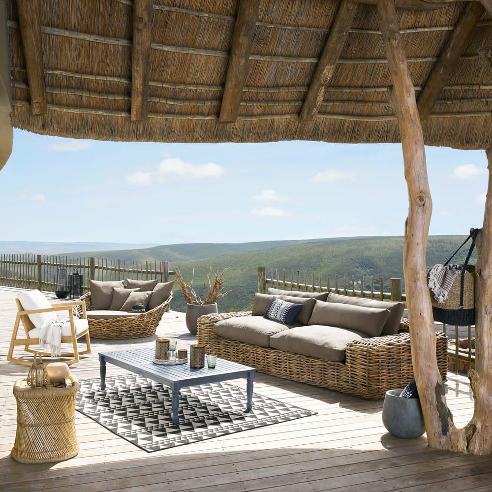 Canapé rond de jardin en rotin et coussins taupe St Tropez | Maisons ...