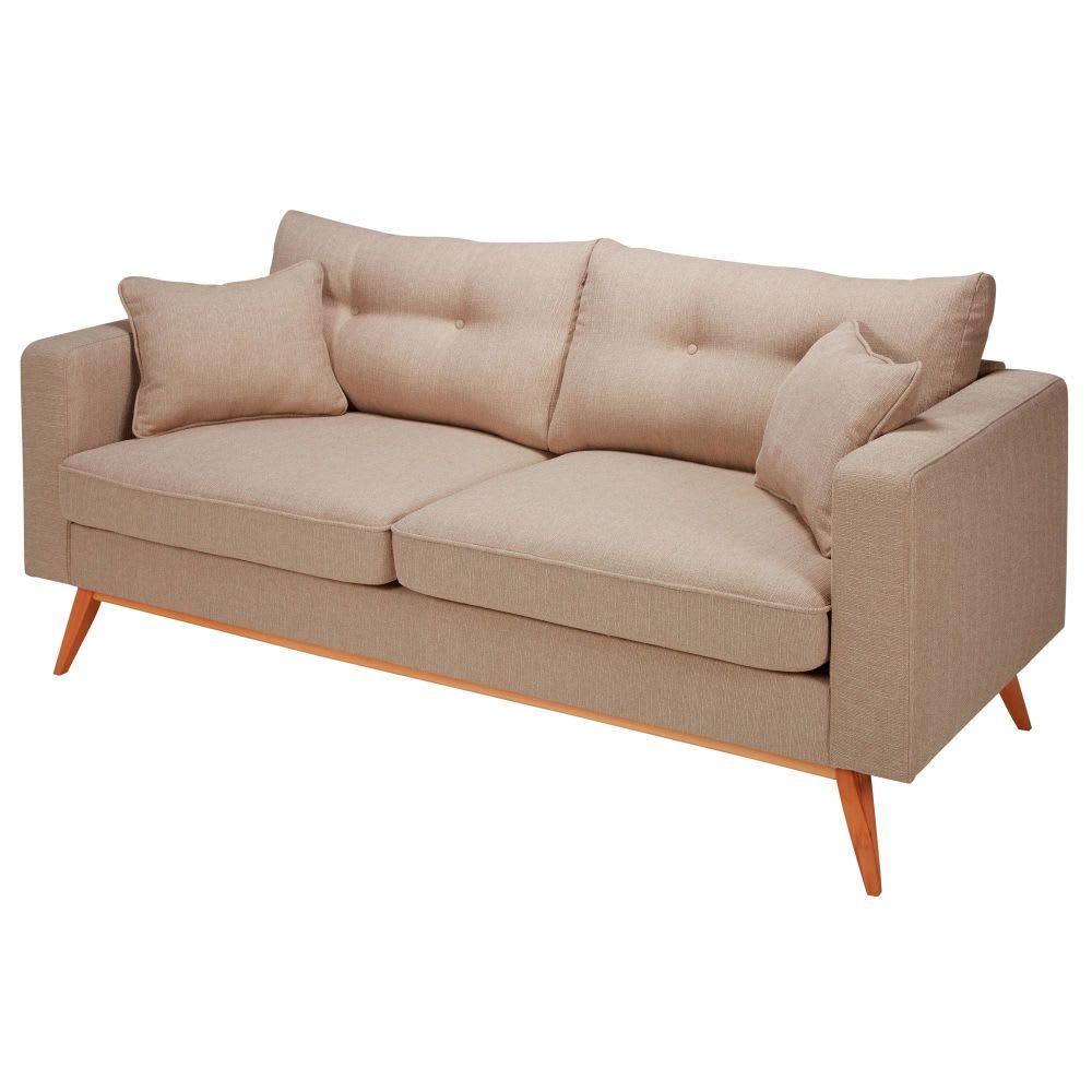 canap style scandinave 3 places beige brooke maisons du. Black Bedroom Furniture Sets. Home Design Ideas