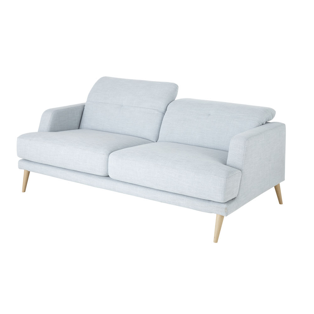 canap style scandinave 3 places bleu clair missouri. Black Bedroom Furniture Sets. Home Design Ideas