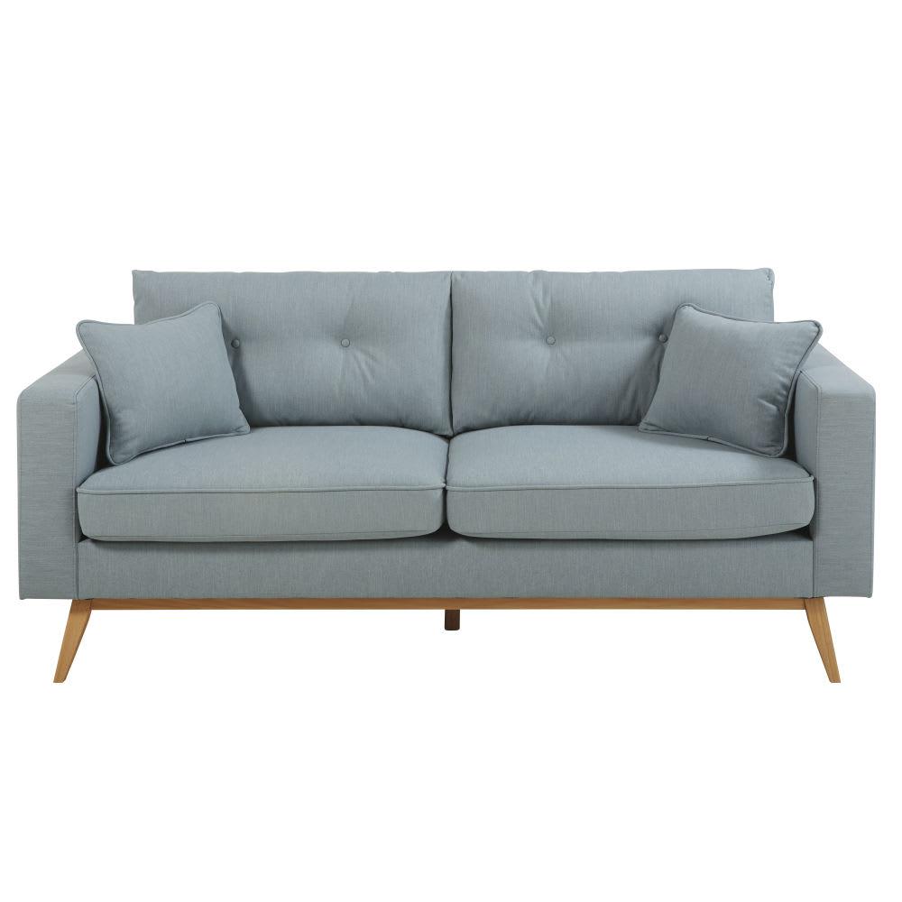 canap style scandinave 3 places bleu glacier brooke maisons du monde. Black Bedroom Furniture Sets. Home Design Ideas
