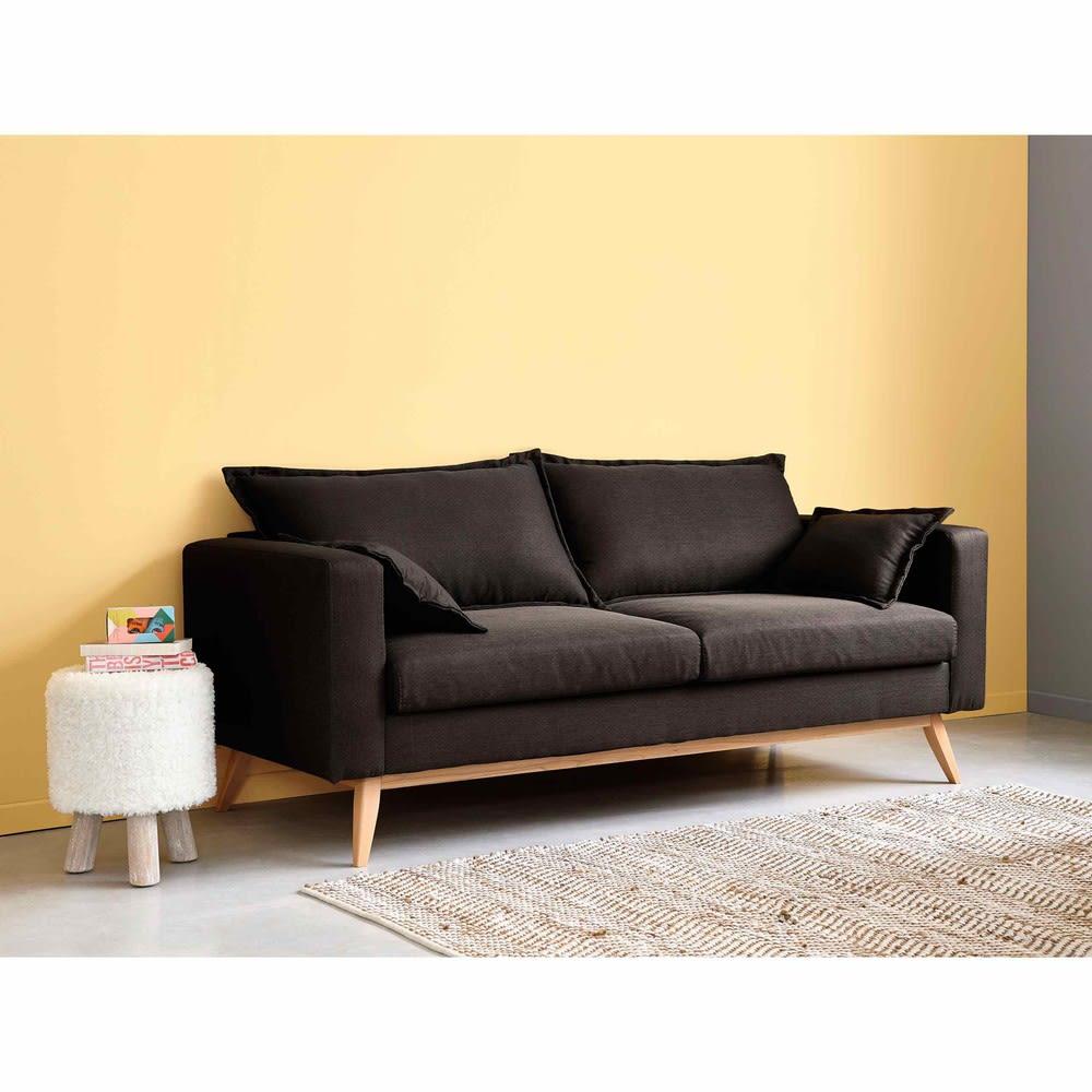 canap style scandinave 3 places gris ardoise duke. Black Bedroom Furniture Sets. Home Design Ideas