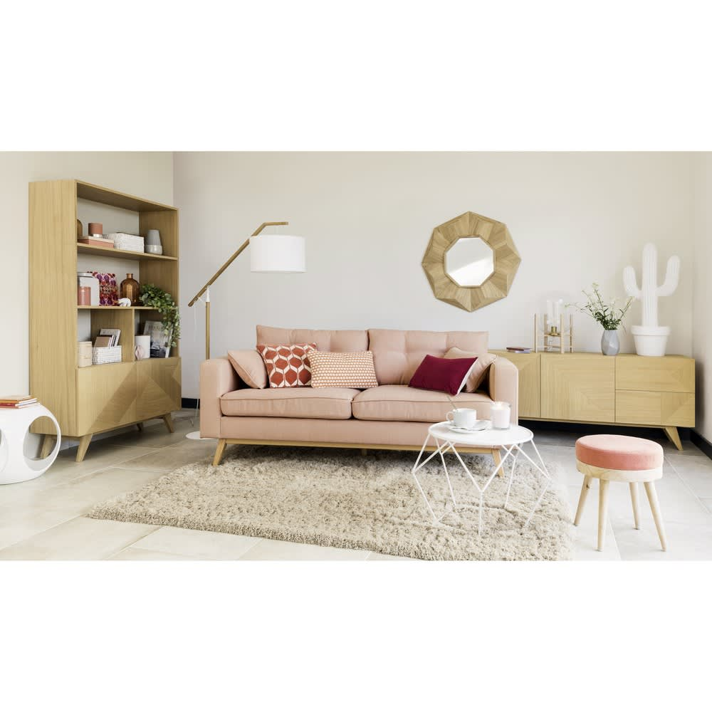 canap style scandinave 3 places rose clair brooke. Black Bedroom Furniture Sets. Home Design Ideas