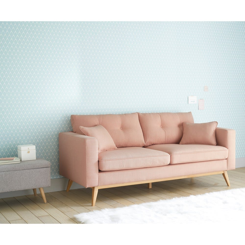 canap style scandinave 3 places rose clair brooke maisons du monde. Black Bedroom Furniture Sets. Home Design Ideas