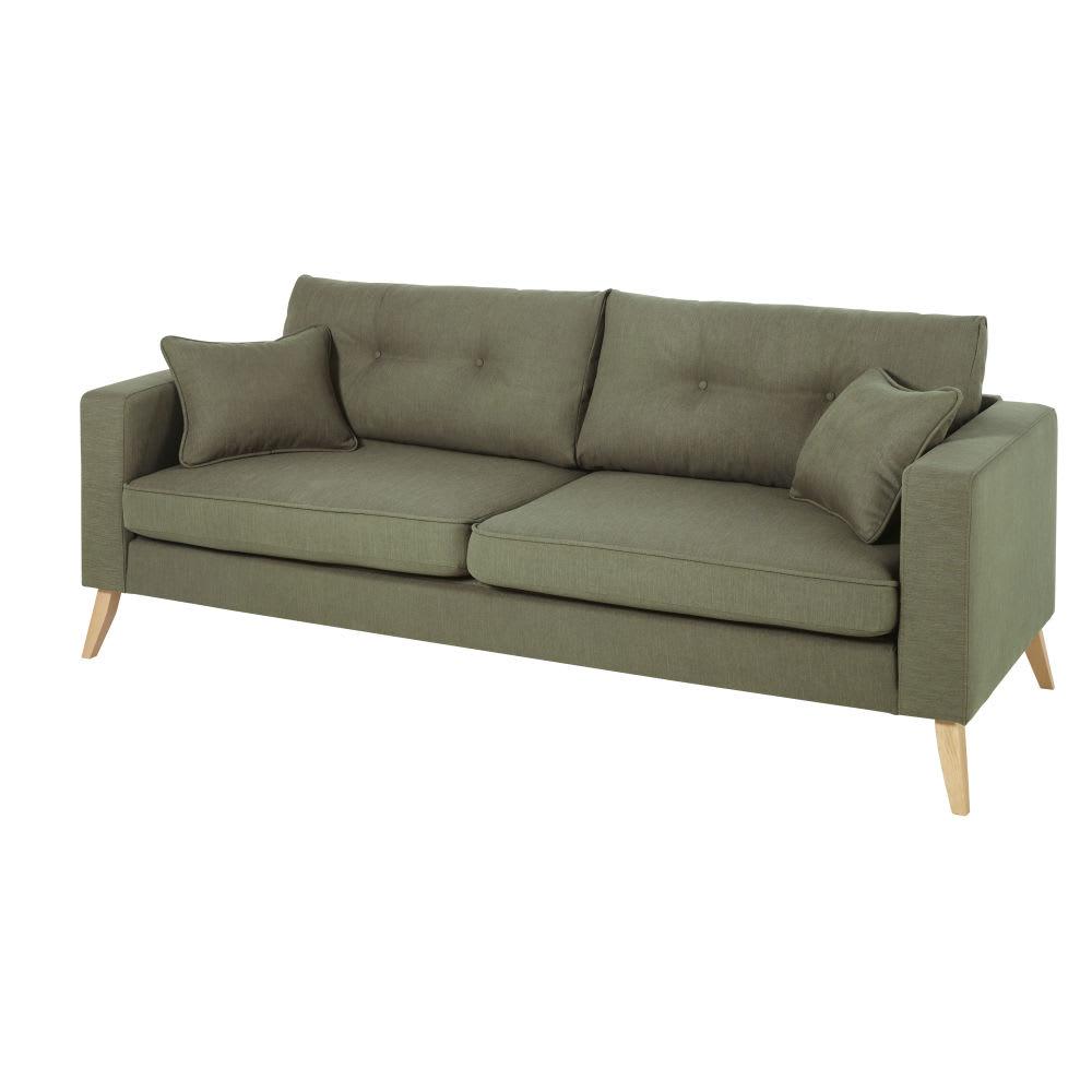 canap style scandinave 3 places vert kaki brooke. Black Bedroom Furniture Sets. Home Design Ideas