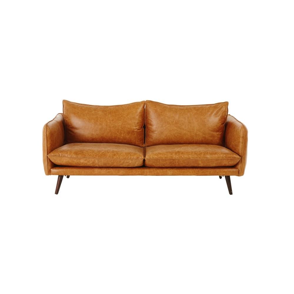 canap vintage 2 places en cuir camel morgan maisons du. Black Bedroom Furniture Sets. Home Design Ideas