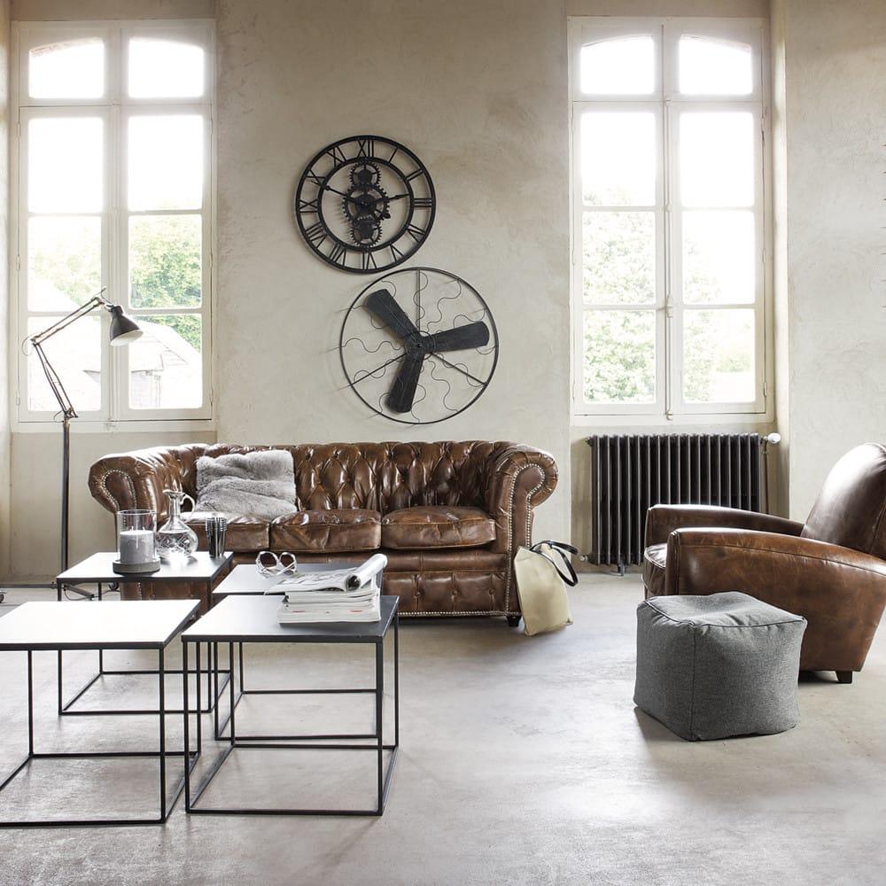 Canap vintage 3 places en cuir capitonn chesterfield - Canape lisbonne maison du monde ...