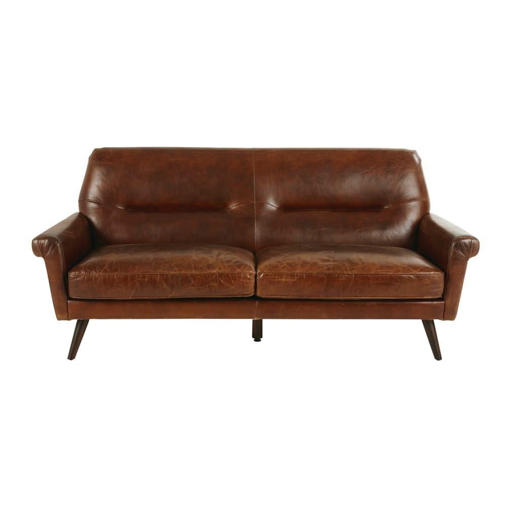 Canapé vintage 3 places en cuir marron Paolo | Maisons du Monde