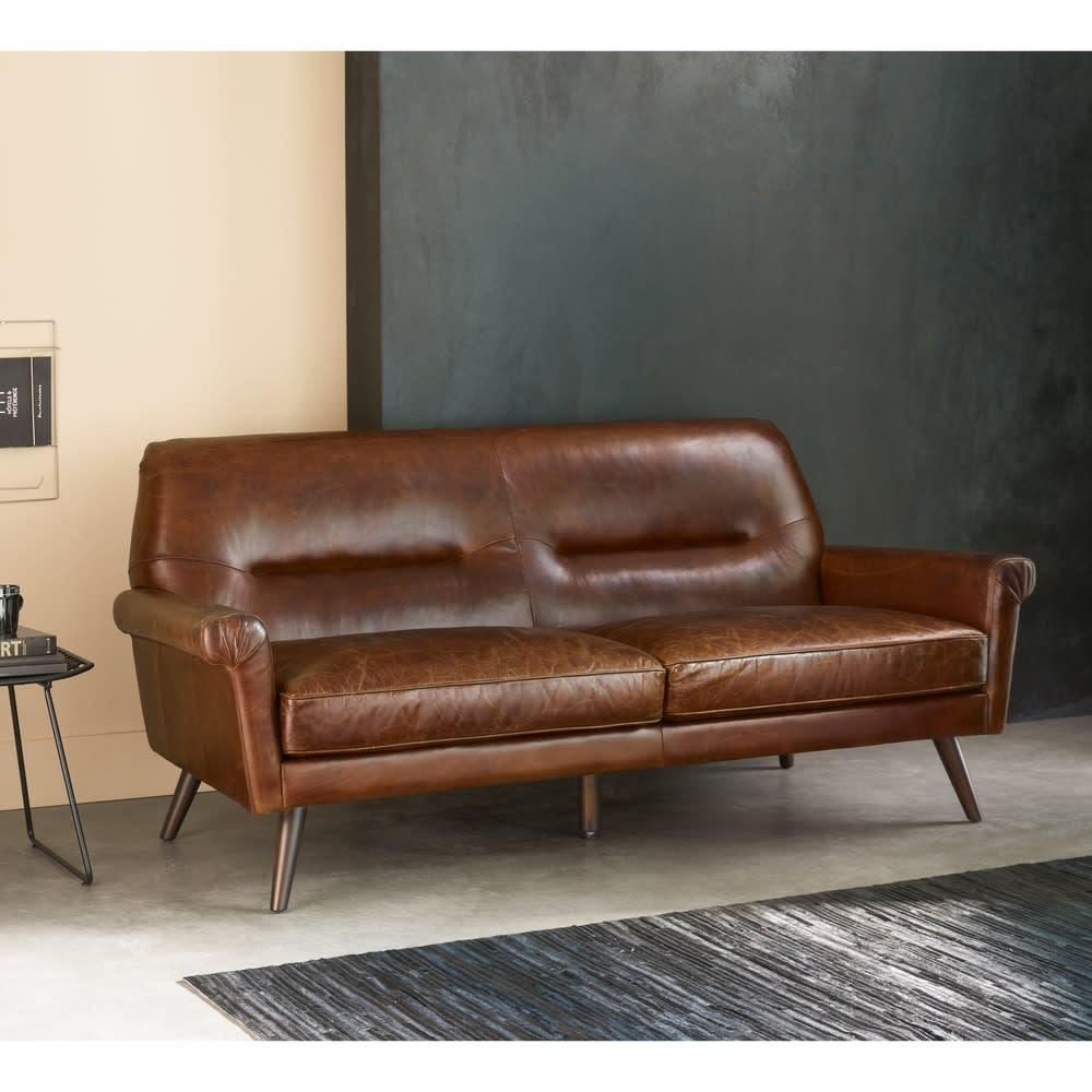 canap vintage 3 places en cuir marron paolo maisons du. Black Bedroom Furniture Sets. Home Design Ideas
