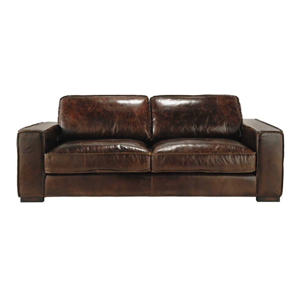 Canapé vintage 3 places en cuir marron Colonel | Maisons du Monde