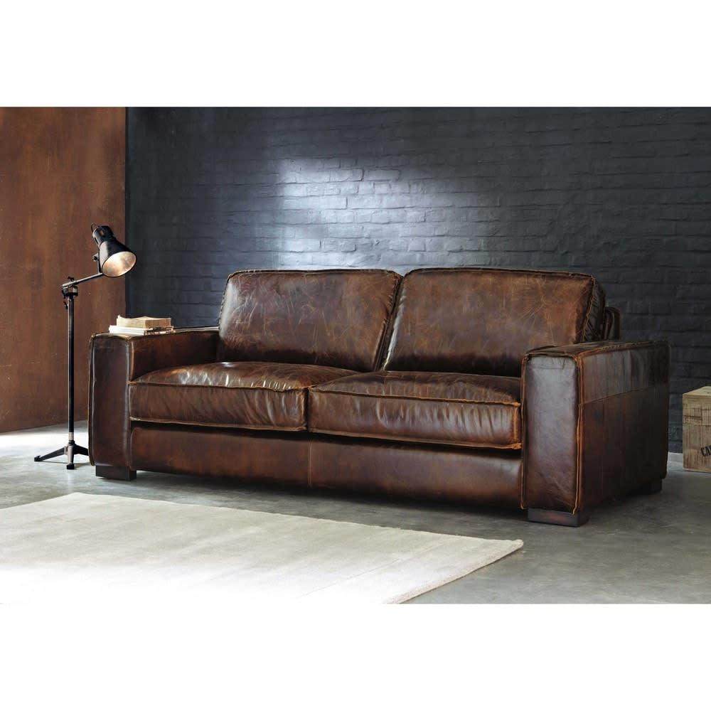Canap vintage 3 places en cuir marron colonel maisons du monde - Canape maison du monde cuir ...