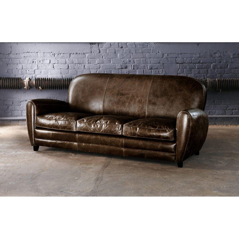 canap vintage 3 places en cuir marron oxford maisons du monde. Black Bedroom Furniture Sets. Home Design Ideas