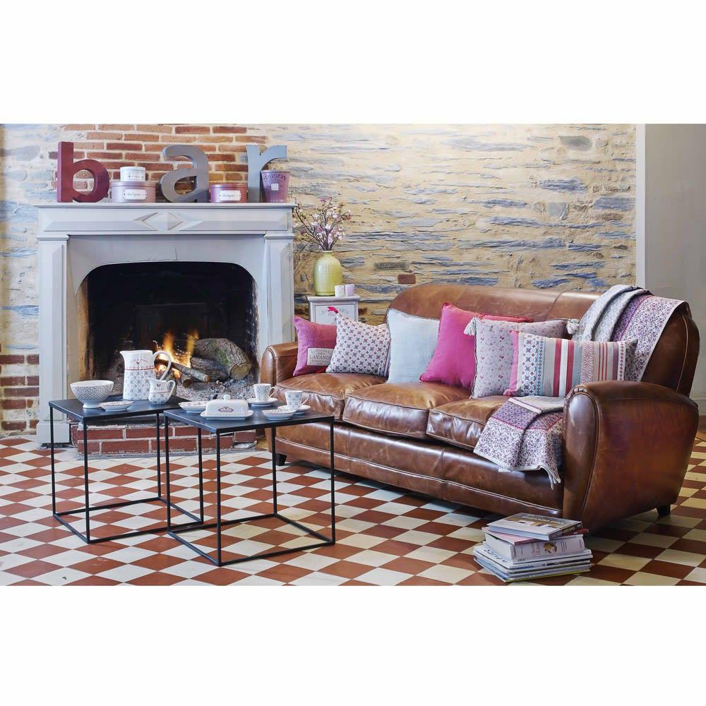 canap vintage 3 places en cuir marron oxford maisons du. Black Bedroom Furniture Sets. Home Design Ideas