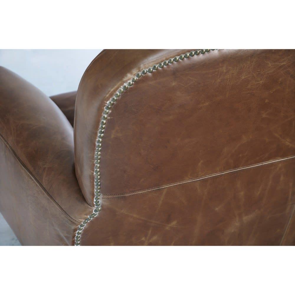 Canapé vintage 3 places en cuir marron Oxford | Maisons du ...