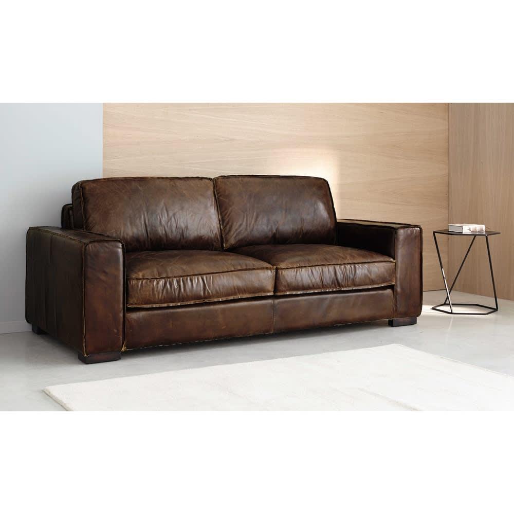 canap vintage 3 places en cuir noir colonel maisons du. Black Bedroom Furniture Sets. Home Design Ideas