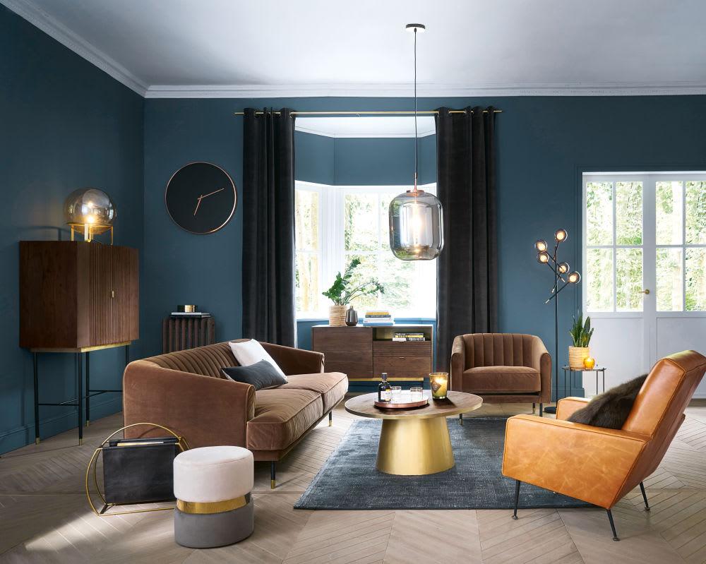 canap vintage 3 places en velours marron costello. Black Bedroom Furniture Sets. Home Design Ideas