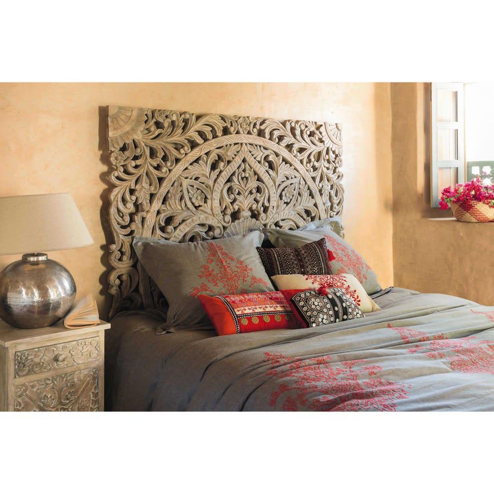 carved solid mango wood 160 headboard himalaya maisons. Black Bedroom Furniture Sets. Home Design Ideas