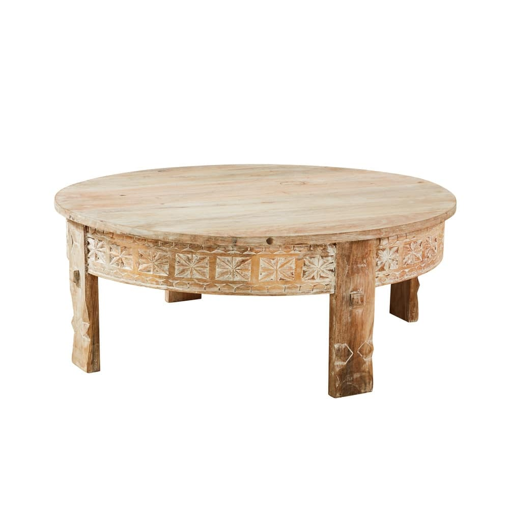 Carved Solid Mango Wood Round Coffee Table Manilal